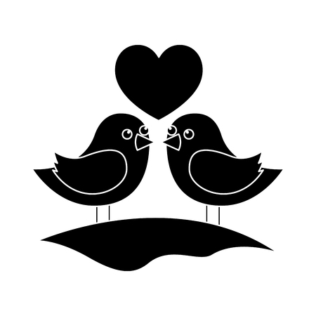 cute couple birds togehther with heart in the field vector illustration black and white image