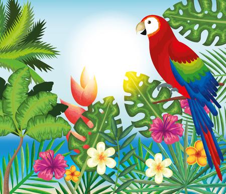 Tropical and exotic garden with parrot vector illustration design Ilustração
