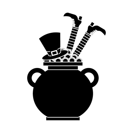 cauldron treasure with hat and leg of leprechaun vector illustration black and white image Banque d'images - 95717550