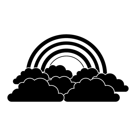rainbow and cloud in the sky vector illustration black and white image