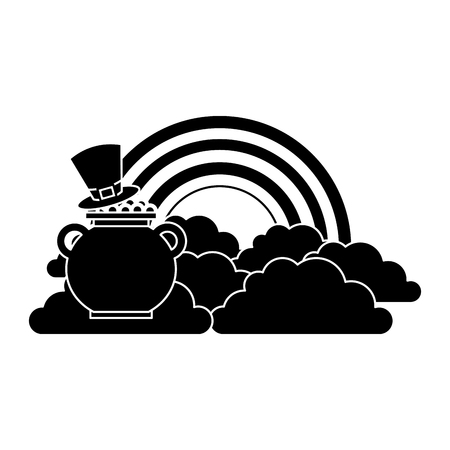 hat of leprechaun with pot coins treasure rainbow cloud fantasy vector illustration black and white image Stock Vector - 95717652