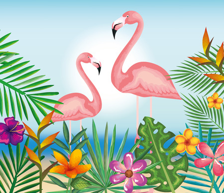 Tropical and exotic garden with flsmingo vector illustration design