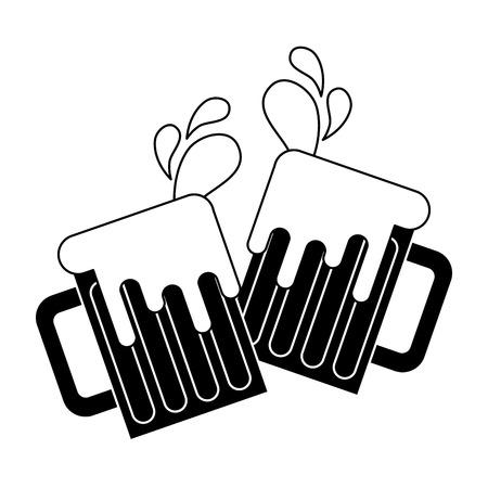 roosteren bierglazen proost schuimend drankje druppels vector illustratie zwart-wit beeld
