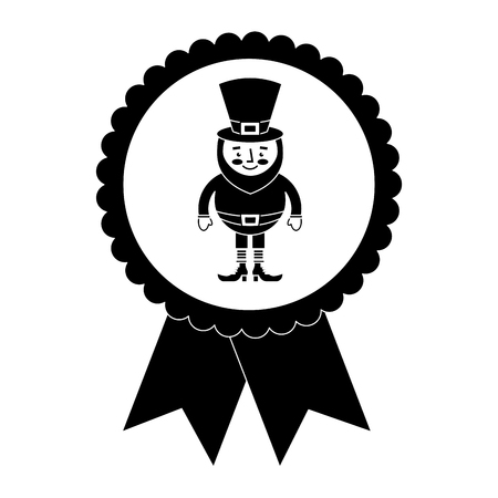 rosette badge with leprechaun st patricks cartoon vector illustration black and white image