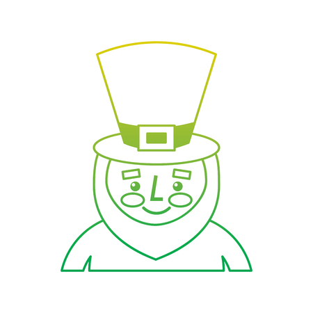leprechaun st patricks day cartoon character portrait vector illustration neon color line image
