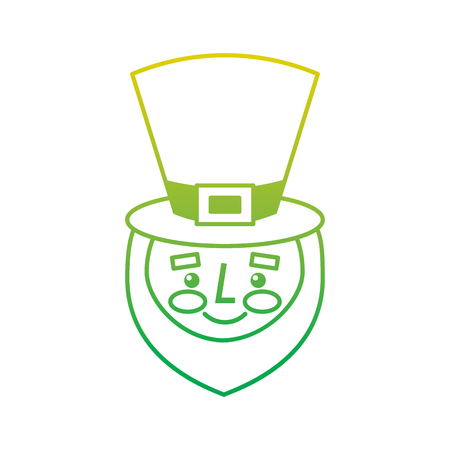leprechaun face with red beard green hat for st. patricks day vector illustration neon color line image Illustration