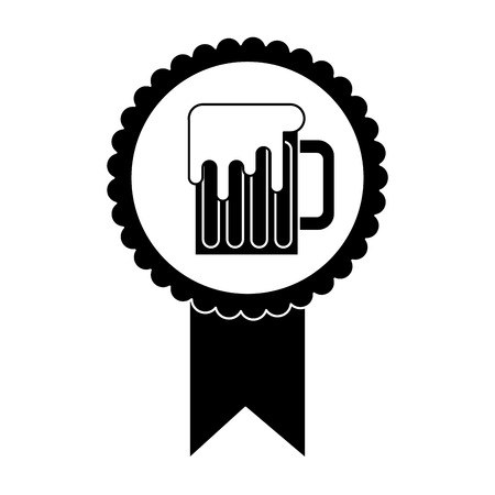 rosette badge with beer glass foamy drink vector illustration black and white image