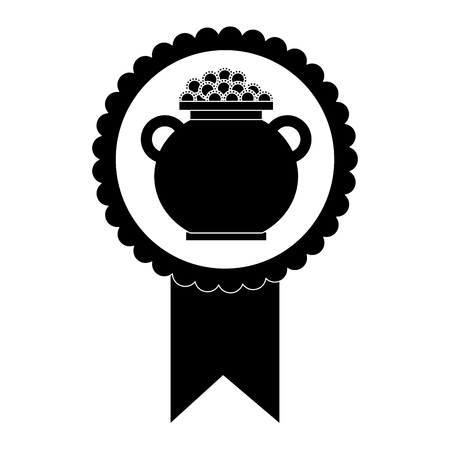 rosette badge with cauldron coins fortune vector illustration black and white image