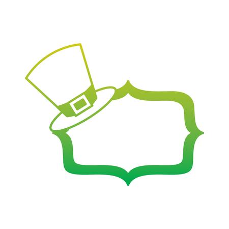 ヴィンテージボードブランクベクトルイラストネオンカラーライン画像とレプレショーンの帽子  イラスト・ベクター素材