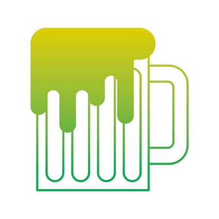 beer mug glass foam alcohol drink vector illustration neon color line image