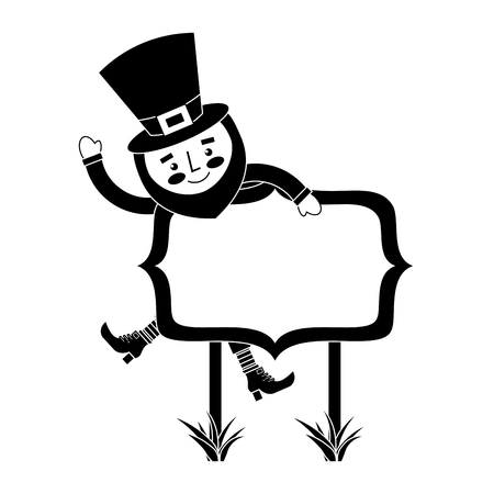 leprechaun on wooden board happy character vector illustration black and white image