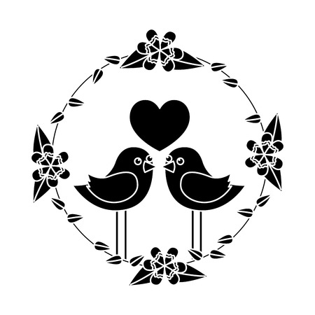 two happy cute bird in love with the heart in floral wreath vector illustration black and white image