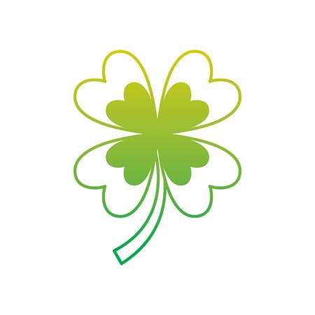 four leaf clover good luck symbol vector illustration neon color line image