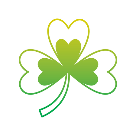 clover with three leafs natural emblem vector illustration neon color line image