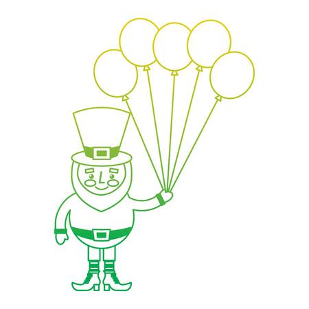 happy leprechaun holding bunch balloons decoration vector illustration neon color line image Stock fotó - 95717716