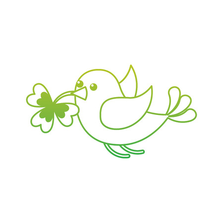 green bird flying with clover in beak vector illustration neon color line image