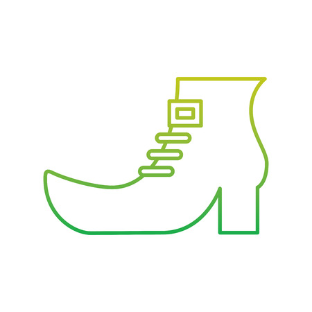 saint patricks day boot of leprechaun accessory vector illustration neon color line image Illustration