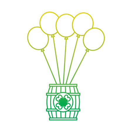 wooden barrel of beer with bunch balloons ornament vector illustration neon color line image