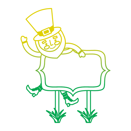 leprechaun on wooden board happy character vector illustration neon color line image