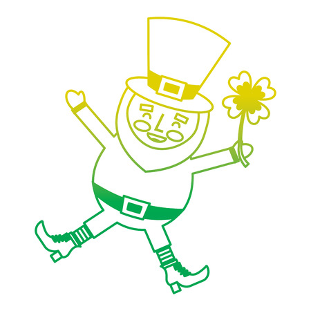 happy leprechaun jumping holding clover in hand vector illustration neon color line image