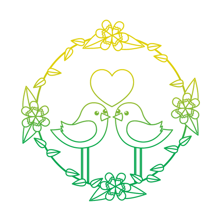 two happy cute bird in love with the heart in floral wreath vector illustration neon color line image Illustration
