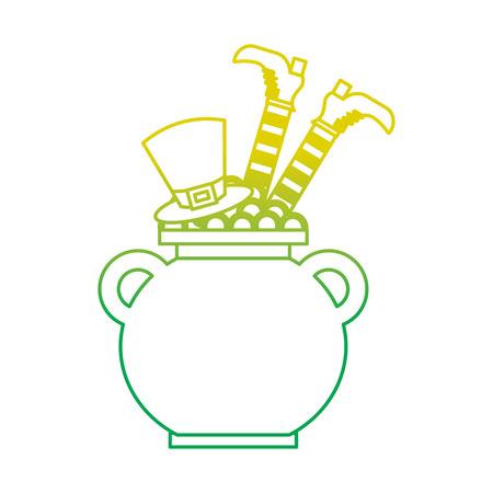 cauldron treasure with hat and leg of leprechaun vector illustration neon color line image Banque d'images - 95713472