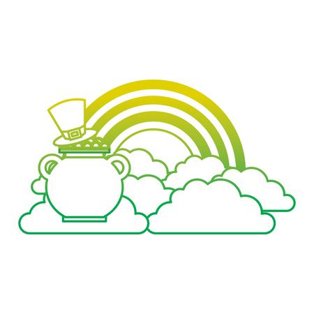hat of leprechaun with pot coins treasure rainbow cloud fantasy vector illustration neon color line image