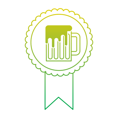 rosette badge with beer glass foamy drink vector illustration neon color line image