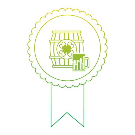 rosette badge with wooden barrel beer vector illustration neon color line image Illustration