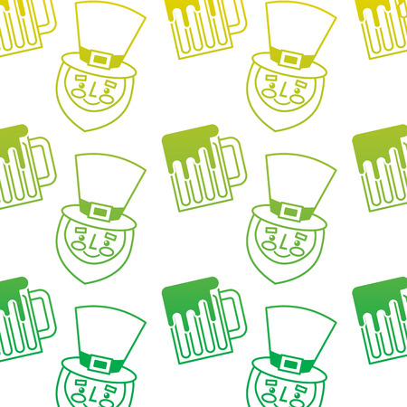 happy face leprechaun and beer glass pattern vector illustration neon color line image