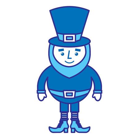 cute cartoon leprechaun st patricks day mascot character vector illustration blue design image