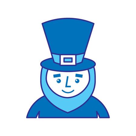 Kobold St. Patricks Day Cartoon Charakter Porträt Vektor-Illustration blau Bild Bild Standard-Bild - 95713483