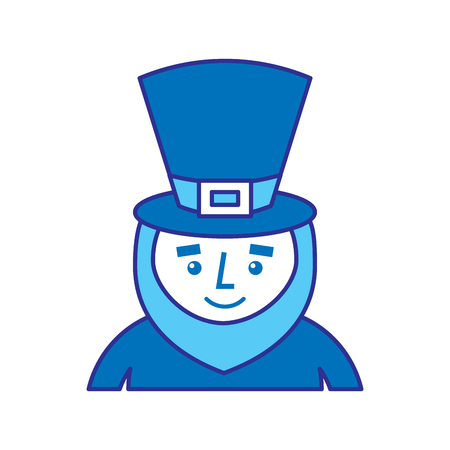 leprechaun st patricks day cartoon character portrait vector illustration blue design image