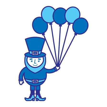 happy leprechaun holding bunch balloons decoration vector illustration blue design image Stock fotó - 95753320