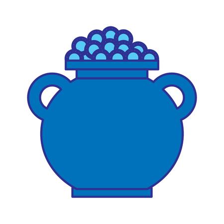 cauldron full coins money treasure fortune vector illustration blue design image 向量圖像