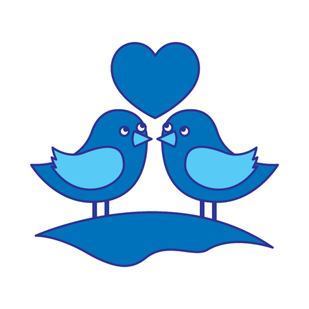 cute couple birds togehther with heart in the field vector illustration blue design image Illustration