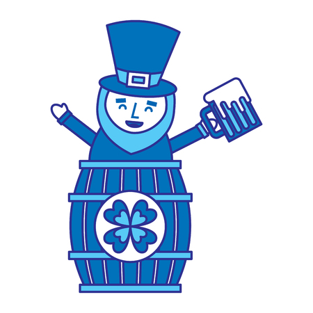 st. patricks day leprechaun inside on a barrel with a pint of beer in his hand vector illustration blue design image