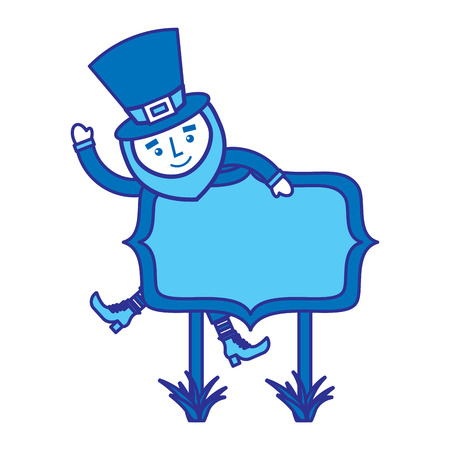 leprechaun on wooden board happy character vector illustration blue design image Çizim