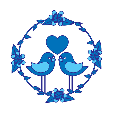 two happy cute bird in love with the heart in floral wreath vector illustration blue design image