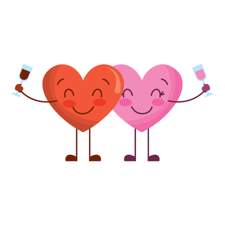 couple hearts cartoon with wine glass drink vector illustration