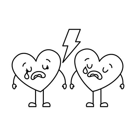 couple love heart cartoon broken crying vector illustration thin line image Illustration