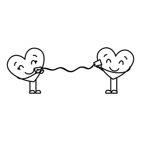 couple in love heart talking with cup romantic vector illustration thin line image