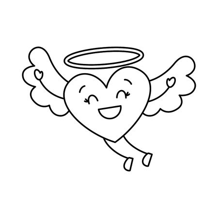 cute love heart flying wings romance vector illustration thin line image
