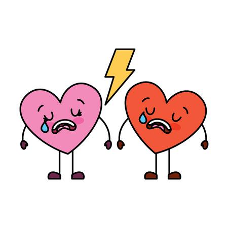 Pareja amor corazón dibujos animados roto llorando ilustración vectorial