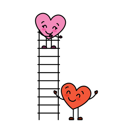 couple of hearts proposing love on a ladder vector illustration Illustration