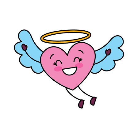 cute love heart flying wings romance vector illustration