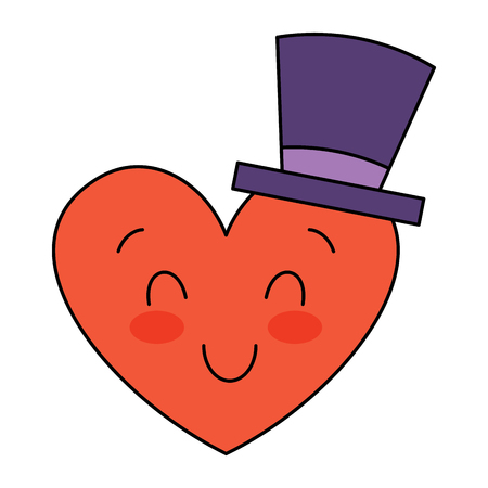 cute heart love with top hat cartoon vector illustration