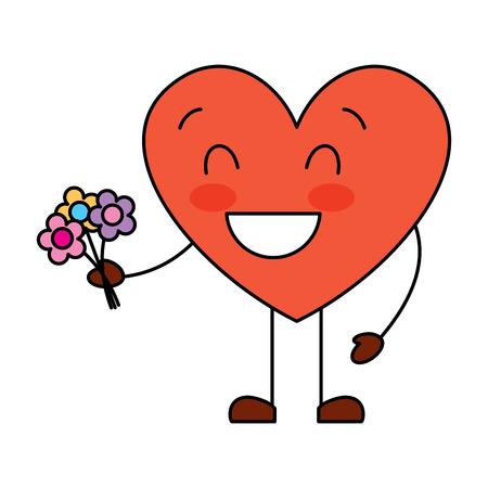 cute heart love holding bouquet flowers gift vector illustration Illusztráció