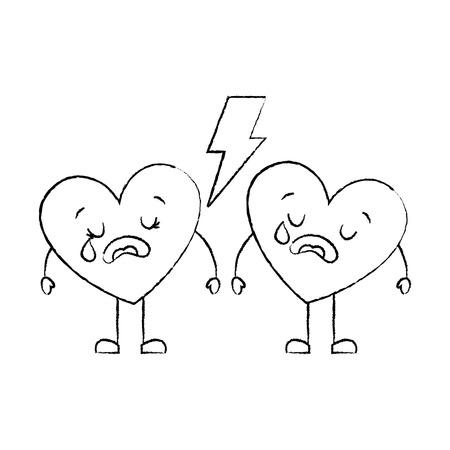 couple love heart cartoon broken crying vector illustration sketch image Illustration