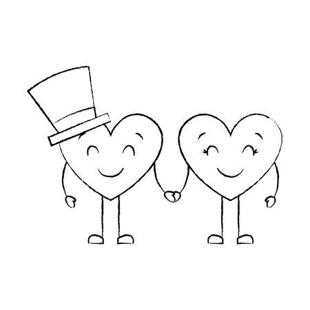 couple in love heart male with hat happy female vector illustration sketch image
